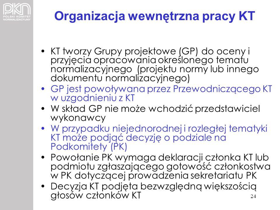 Organizacja wewnętrzna pracy KT KT tworzy Grupy projektowe (GP) do oceny i przyjęcia opracowania określonego tematu normalizacyjnego (projektu normy l
