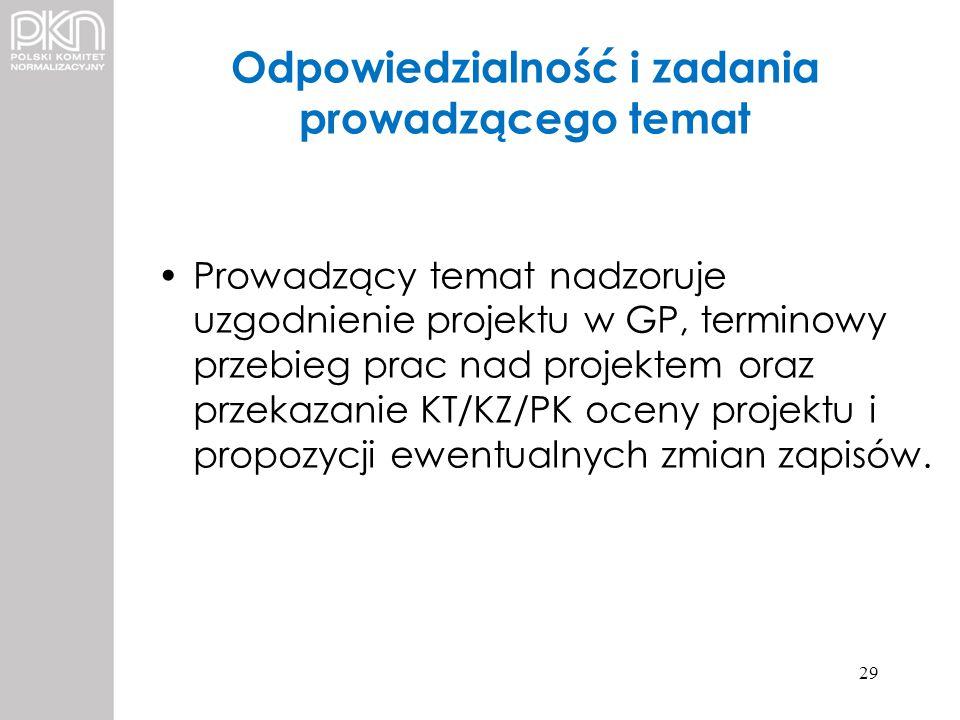Odpowiedzialność i zadania prowadzącego temat Prowadzący temat nadzoruje uzgodnienie projektu w GP, terminowy przebieg prac nad projektem oraz przekaz