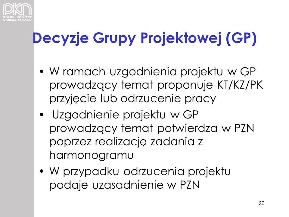 Decyzje Grupy Projektowej (GP) W ramach uzgodnienia projektu w GP prowadzący temat proponuje KT/KZ/PK przyjęcie lub odrzucenie pracy Uzgodnienie proje
