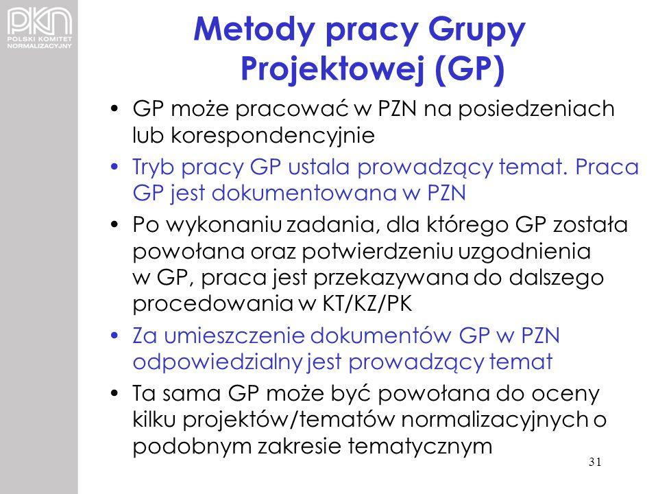 Metody pracy Grupy Projektowej (GP) GP może pracować w PZN na posiedzeniach lub korespondencyjnie Tryb pracy GP ustala prowadzący temat. Praca GP jest