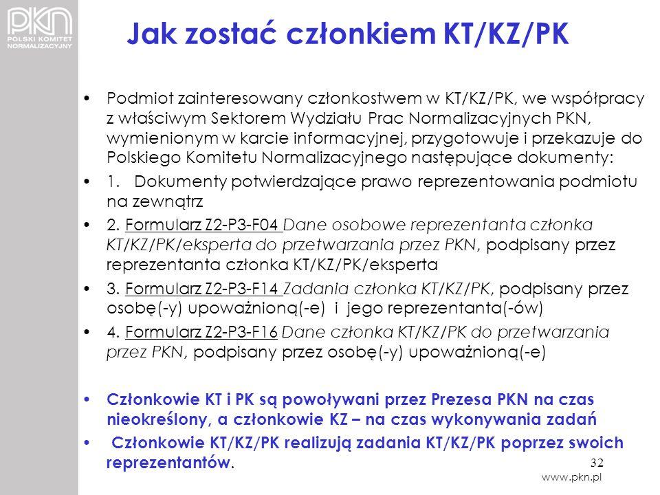 Jak zostać członkiem KT/KZ/PK Podmiot zainteresowany członkostwem w KT/KZ/PK, we współpracy z właściwym Sektorem Wydziału Prac Normalizacyjnych PKN, w