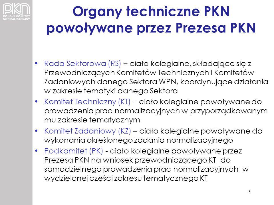 Organy techniczne PKN powoływane przez Prezesa PKN Rada Sektorowa (RS) – ciało kolegialne, składające się z Przewodniczących Komitetów Technicznych i