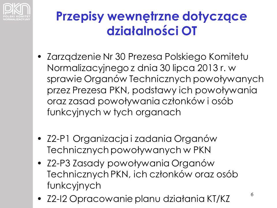 Przepisy wewnętrzne dotyczące działalności OT Zarządzenie Nr 30 Prezesa Polskiego Komitetu Normalizacyjnego z dnia 30 lipca 2013 r. w sprawie Organów