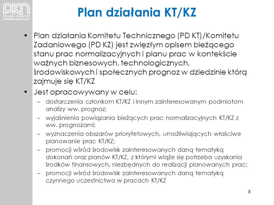 Plan działania KT/KZ Plan działania Komitetu Technicznego (PD KT)/Komitetu Zadaniowego (PD KZ) jest zwięzłym opisem bieżącego stanu prac normalizacyjn