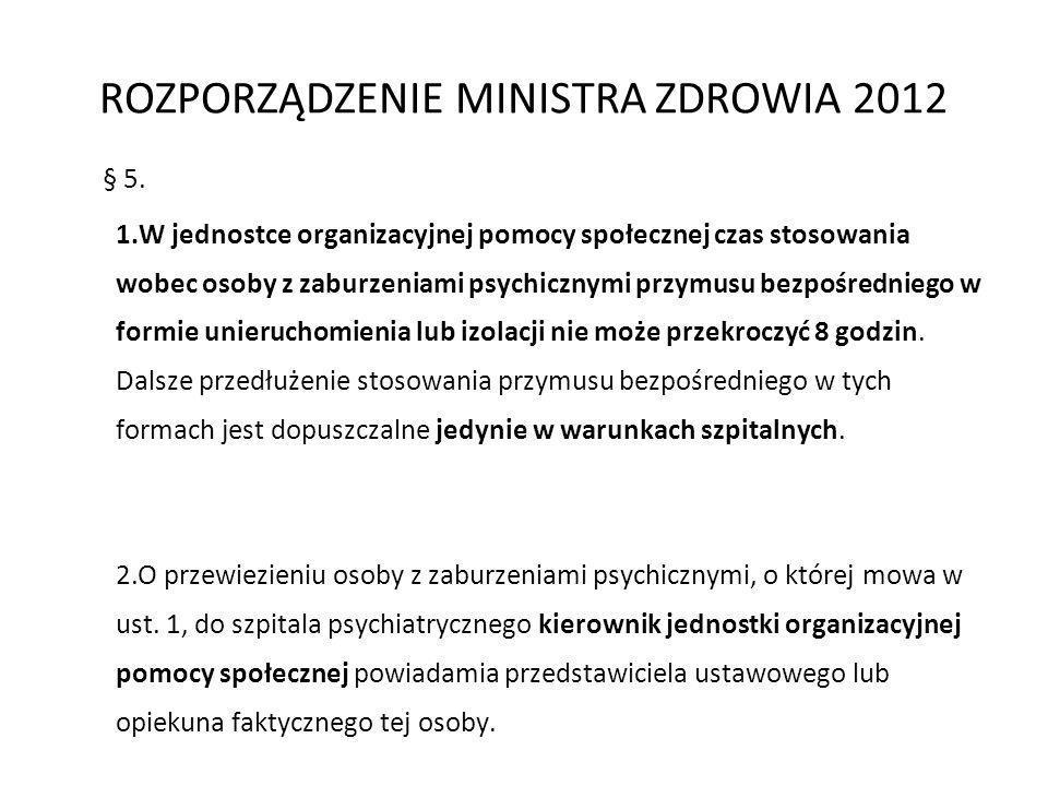§ 5. 1.W jednostce organizacyjnej pomocy społecznej czas stosowania wobec osoby z zaburzeniami psychicznymi przymusu bezpośredniego w formie unierucho