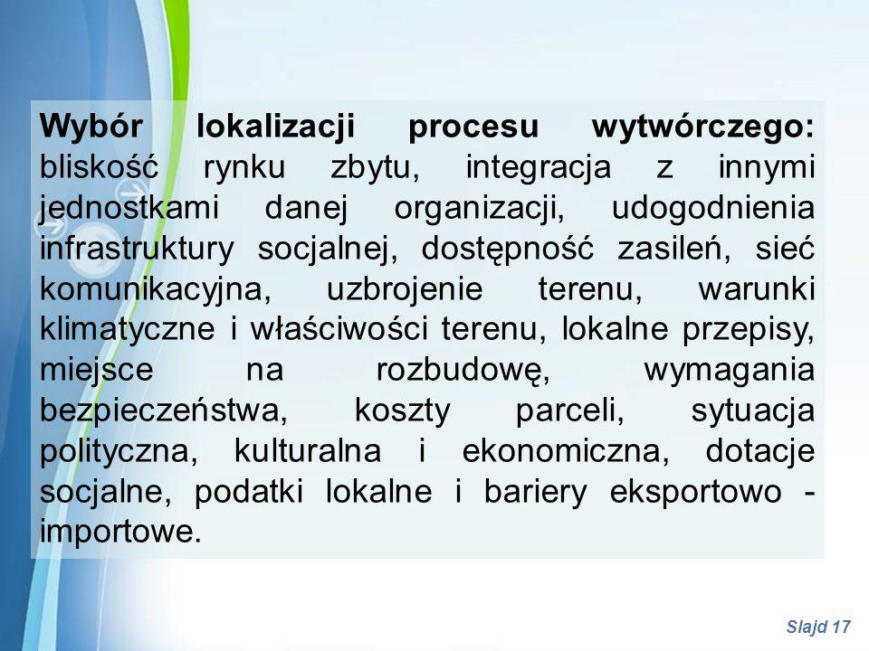 Powerpoint Templates Slajd 17 Wybór lokalizacji procesu wytwórczego: bliskość rynku zbytu, integracja z innymi jednostkami danej organizacji, udogodni