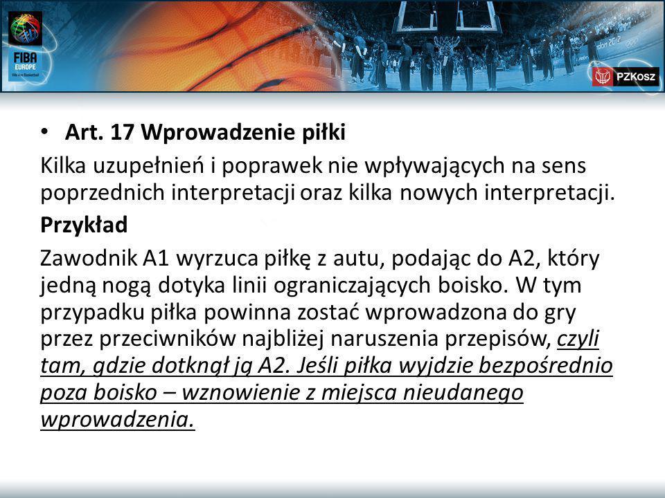 Art. 17 Wprowadzenie piłki Kilka uzupełnień i poprawek nie wpływających na sens poprzednich interpretacji oraz kilka nowych interpretacji. Przykład Za