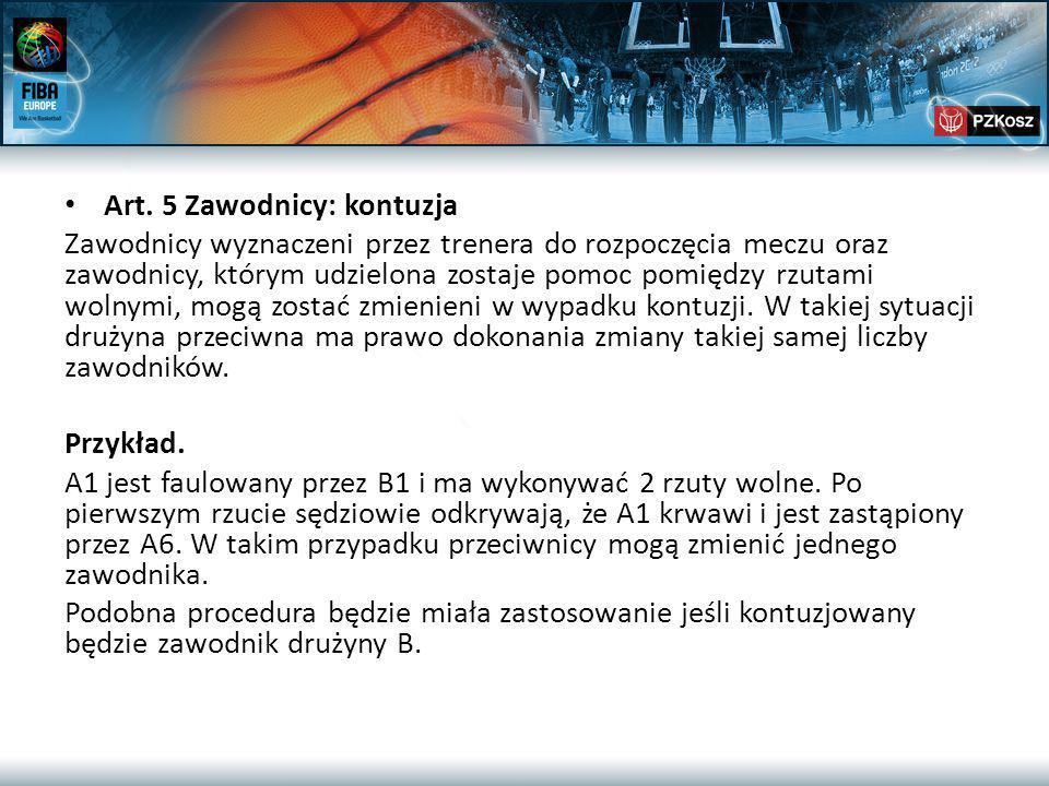 Art.35 cd… Przykład W walce o pozycję, B1 popychając A1 popełnia faul osobisty.