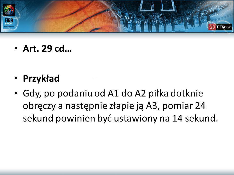 Art. 29 cd… Przykład Gdy, po podaniu od A1 do A2 piłka dotknie obręczy a następnie złapie ją A3, pomiar 24 sekund powinien być ustawiony na 14 sekund.