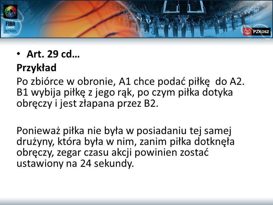 Art. 29 cd… Przykład Po zbiórce w obronie, A1 chce podać piłkę do A2.