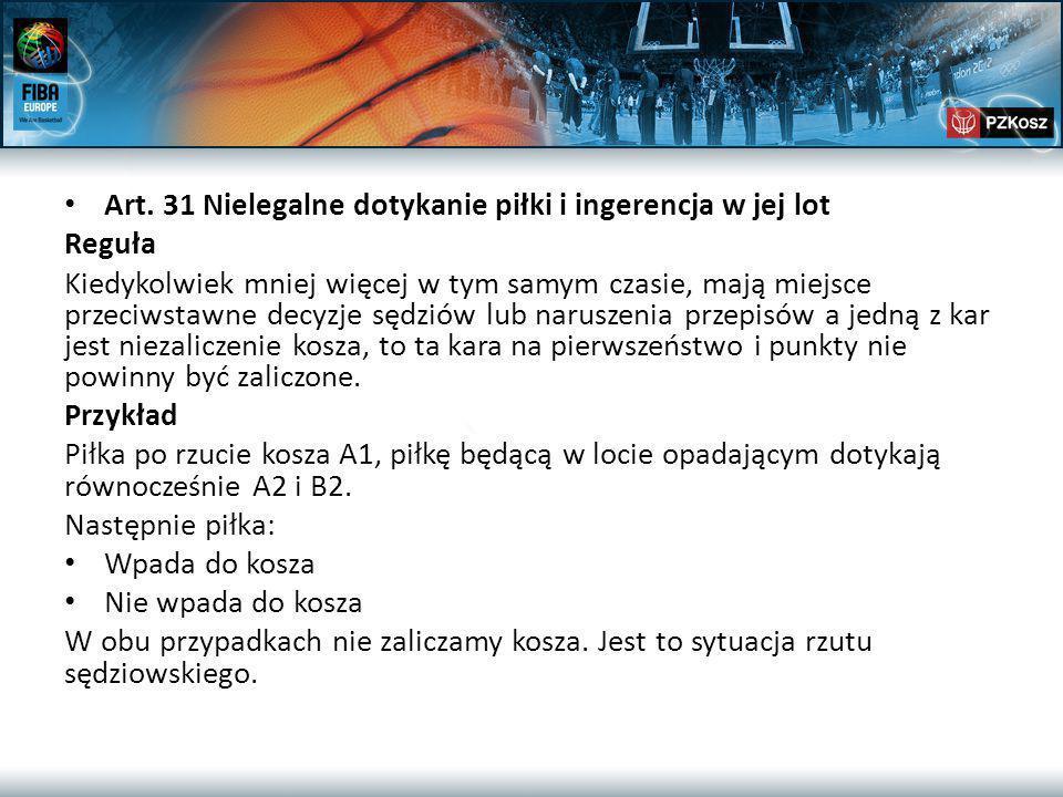 Art. 31 Nielegalne dotykanie piłki i ingerencja w jej lot Reguła Kiedykolwiek mniej więcej w tym samym czasie, mają miejsce przeciwstawne decyzje sędz