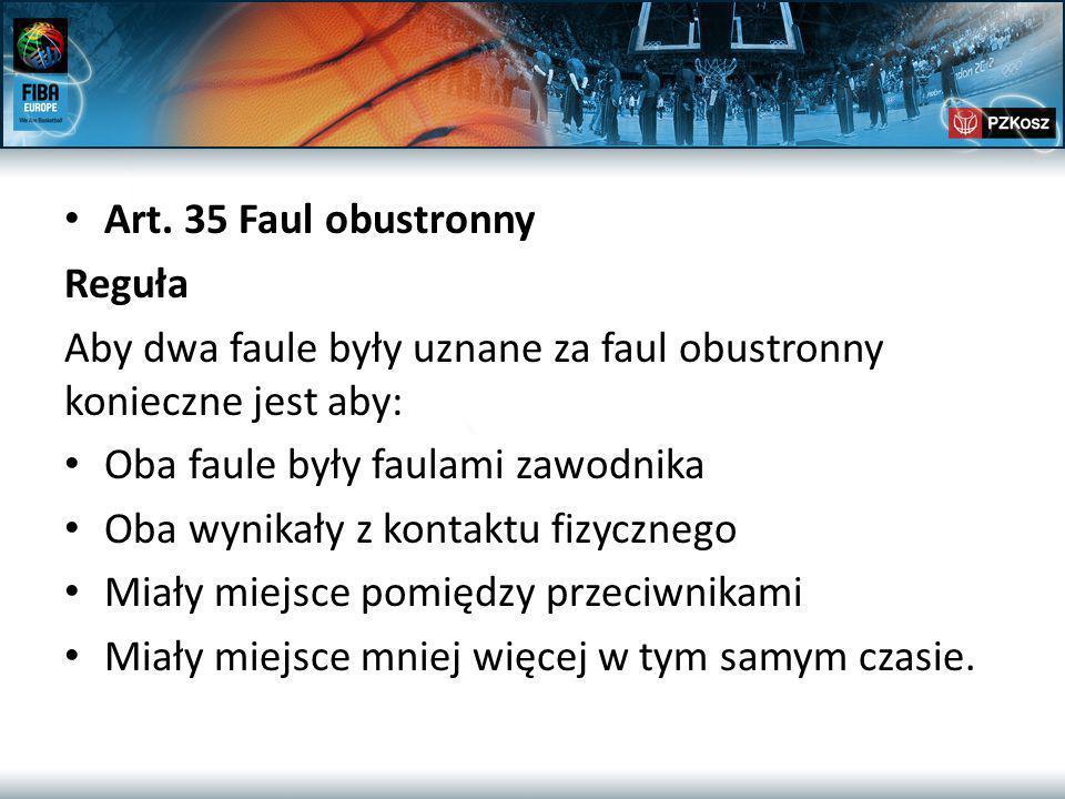 Art. 35 Faul obustronny Reguła Aby dwa faule były uznane za faul obustronny konieczne jest aby: Oba faule były faulami zawodnika Oba wynikały z kontak