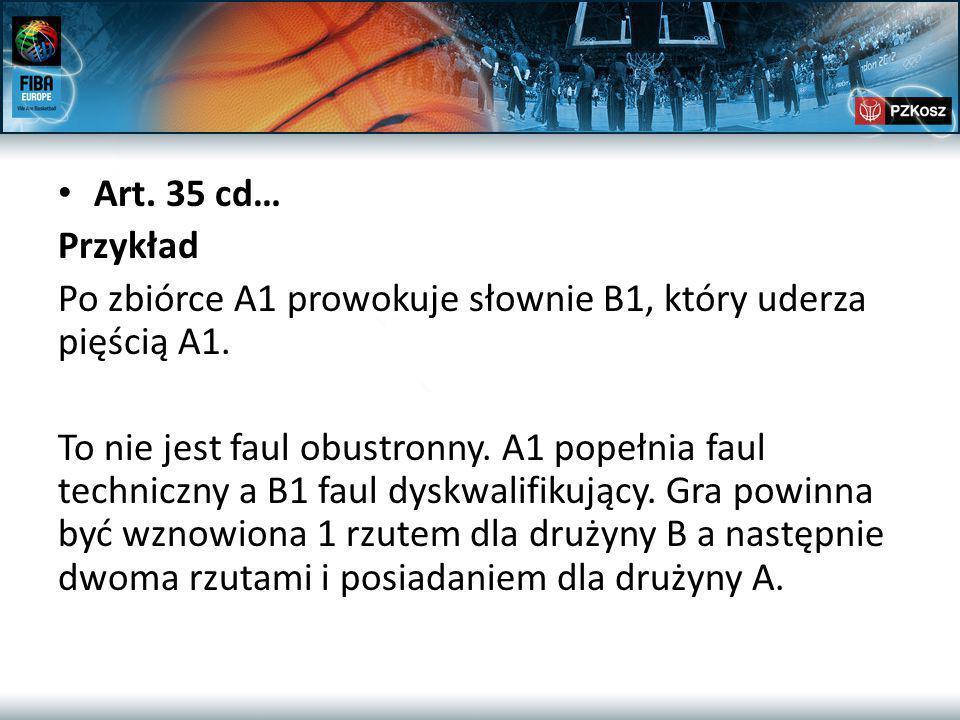 Art. 35 cd… Przykład Po zbiórce A1 prowokuje słownie B1, który uderza pięścią A1.