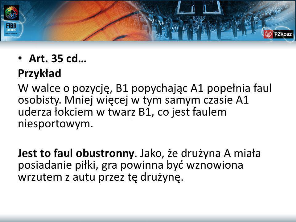 Art. 35 cd… Przykład W walce o pozycję, B1 popychając A1 popełnia faul osobisty.