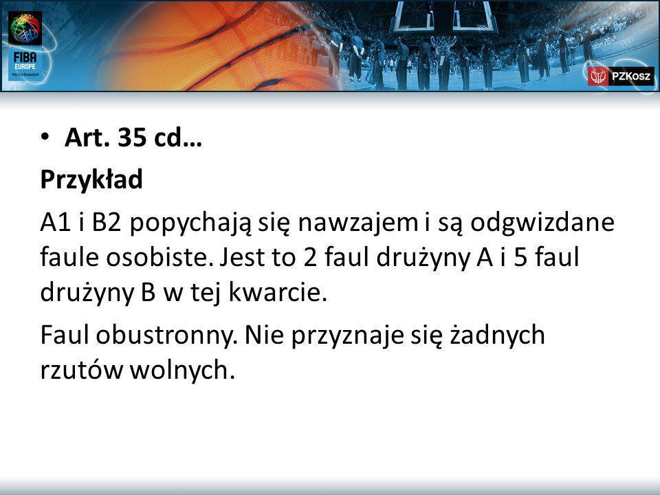 Art. 35 cd… Przykład A1 i B2 popychają się nawzajem i są odgwizdane faule osobiste.