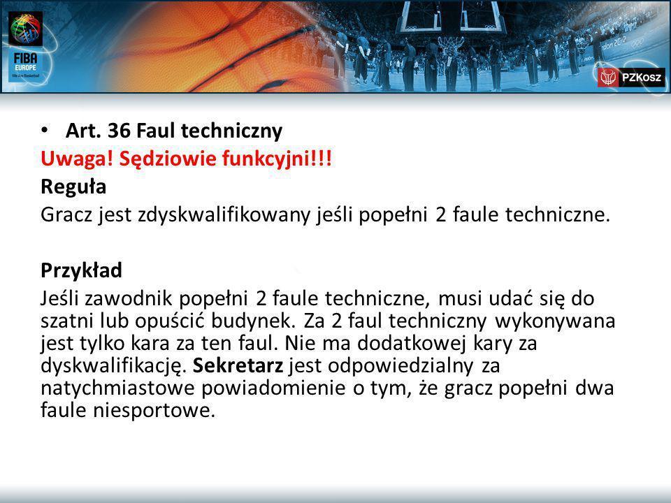 Art. 36 Faul techniczny Uwaga. Sędziowie funkcyjni!!.