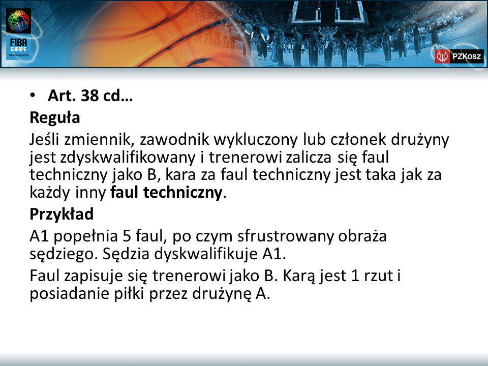 Art. 38 cd… Reguła Jeśli zmiennik, zawodnik wykluczony lub członek drużyny jest zdyskwalifikowany i trenerowi zalicza się faul techniczny jako B, kara
