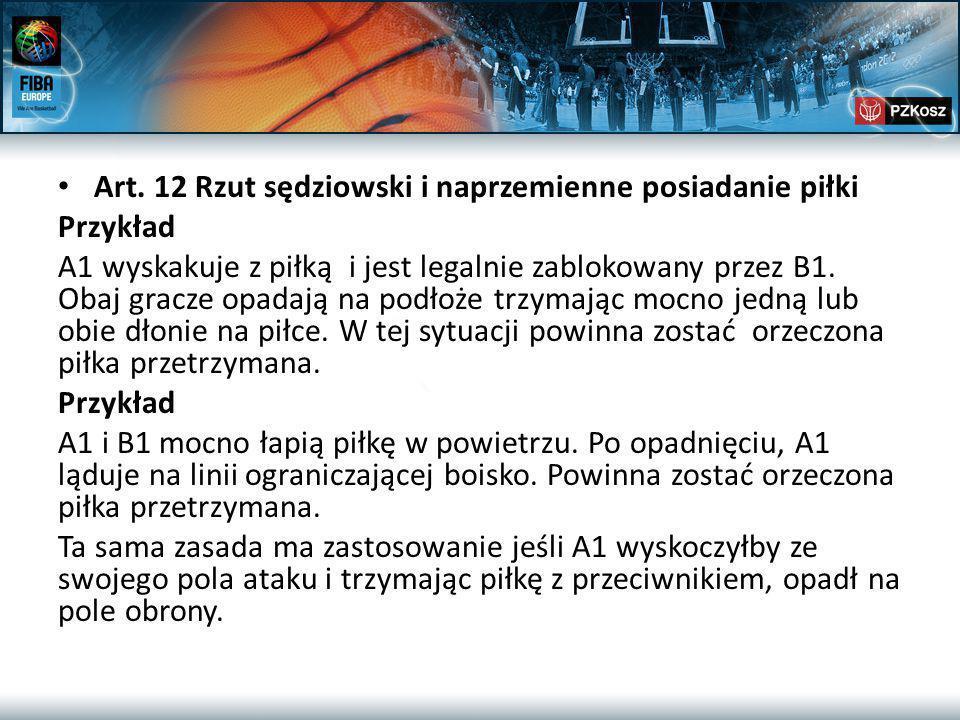 Art. 12 Rzut sędziowski i naprzemienne posiadanie piłki Przykład A1 wyskakuje z piłką i jest legalnie zablokowany przez B1. Obaj gracze opadają na pod