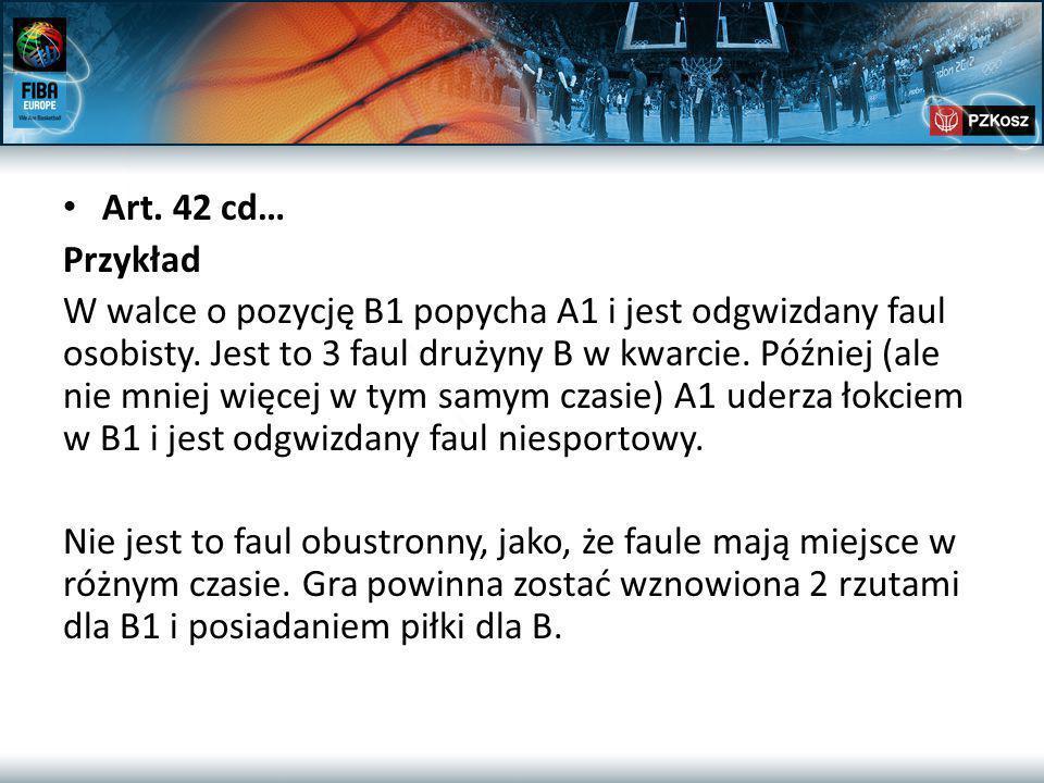 Art. 42 cd… Przykład W walce o pozycję B1 popycha A1 i jest odgwizdany faul osobisty.