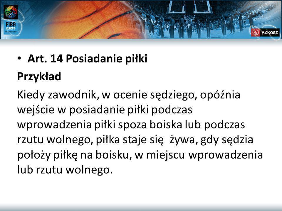 Art. 14 Posiadanie piłki Przykład Kiedy zawodnik, w ocenie sędziego, opóźnia wejście w posiadanie piłki podczas wprowadzenia piłki spoza boiska lub po