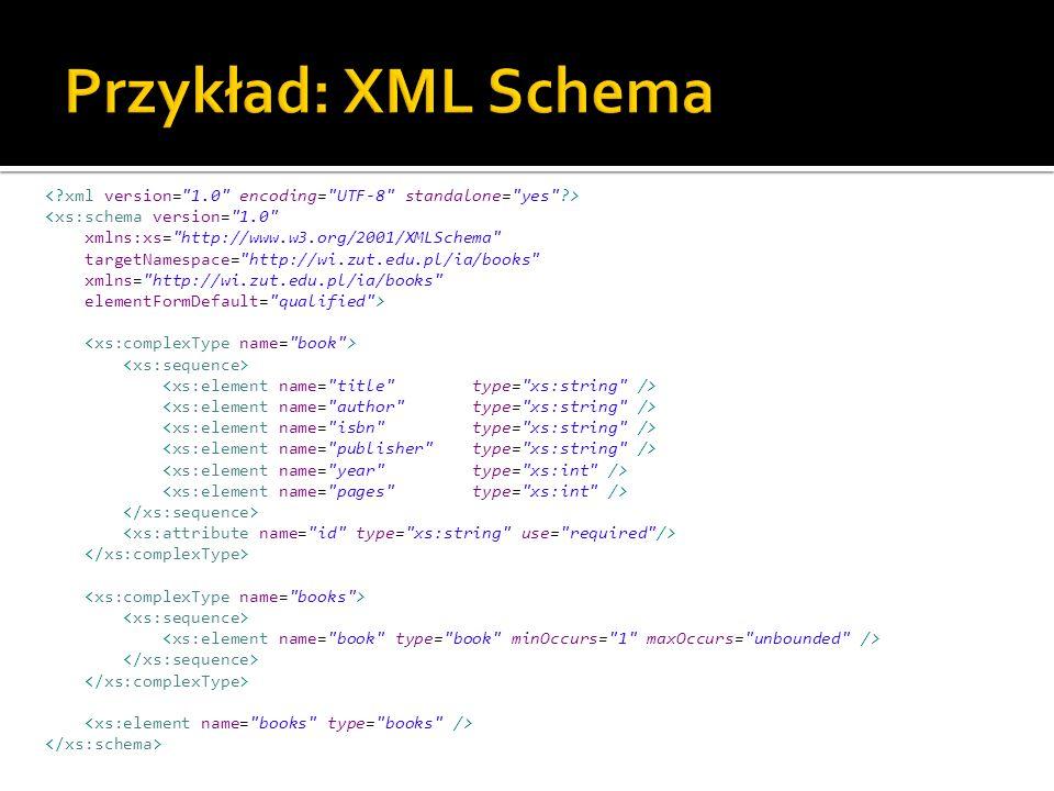 <xs:schema version= 1.0 xmlns:xs= http://www.w3.org/2001/XMLSchema targetNamespace= http://wi.zut.edu.pl/ia/books xmlns= http://wi.zut.edu.pl/ia/books elementFormDefault= qualified >