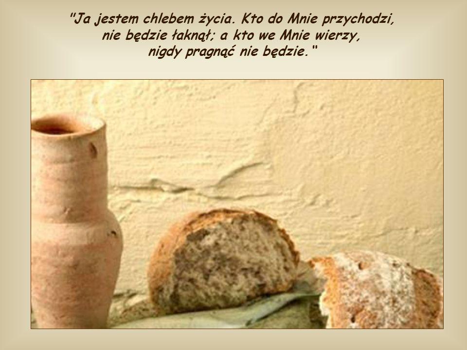 Następnie Jezus, w tej samej mowie, mówi o sobie do tłumu, który go nie rozumie, że jest prawdziwym chlebem, który zstąpił z nieba i że ten chleb możn