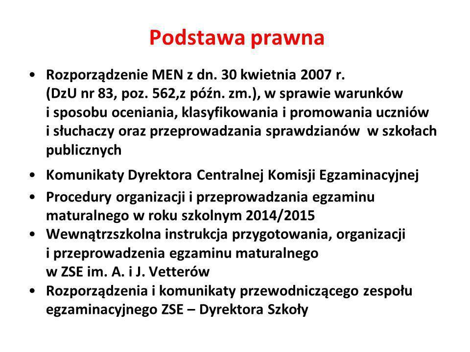 Rozporządzenie MEN z dn.30 kwietnia 2007 r. (DzU nr 83, poz.
