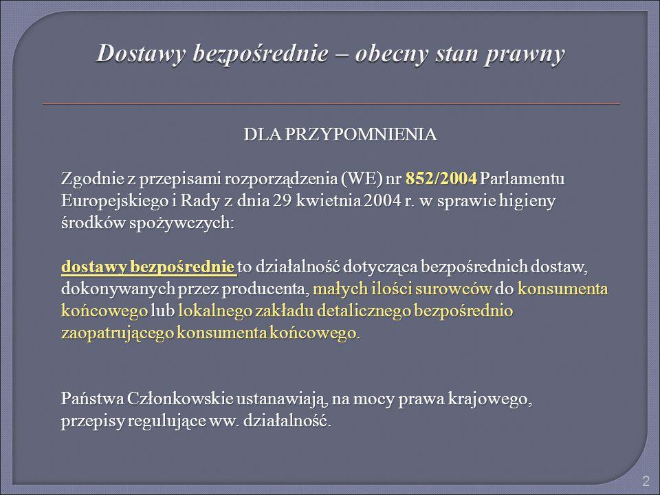 DLA PRZYPOMNIENIA Zgodnie z przepisami rozporządzenia (WE) nr 852/2004 Parlamentu Europejskiego i Rady z dnia 29 kwietnia 2004 r. w sprawie higieny śr