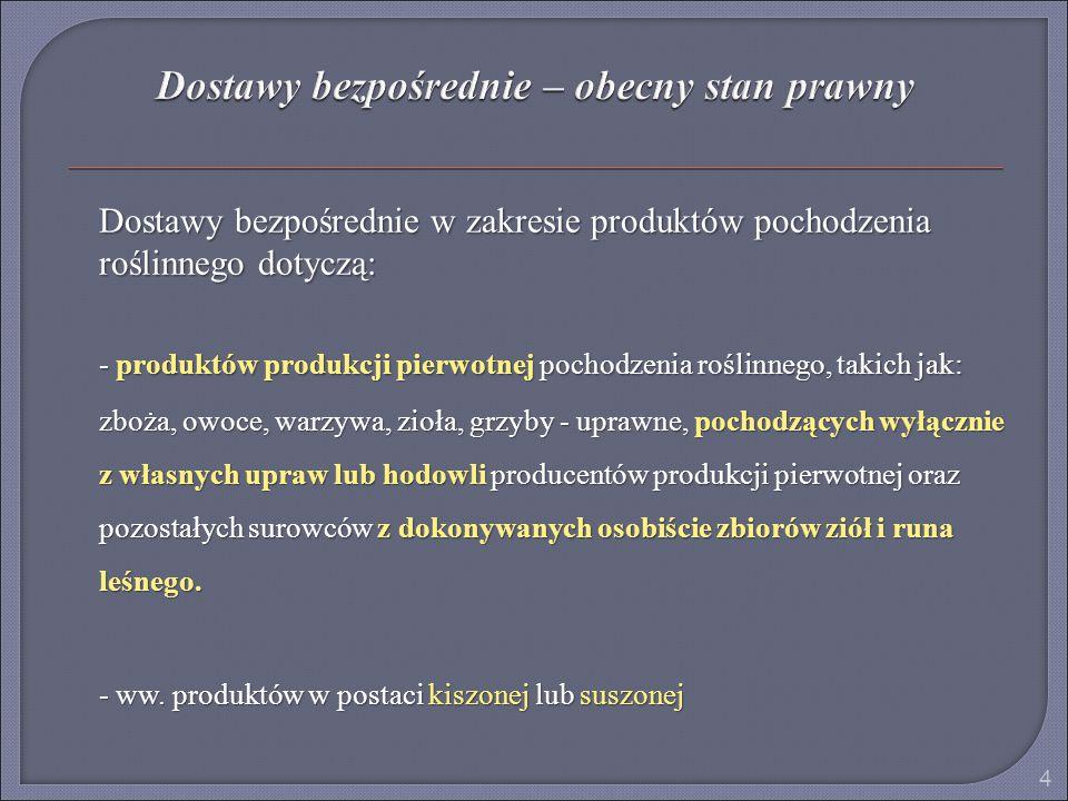 Dostawy bezpośrednie w zakresie produktów pochodzenia roślinnego dotyczą: - produktów produkcji pierwotnej pochodzenia roślinnego, takich jak: zboża,