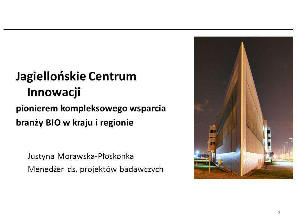 Jagiellońskie Centrum Innowacji pionierem kompleksowego wsparcia branży BIO w kraju i regionie Justyna Morawska-Płoskonka Menedżer ds. projektów badaw