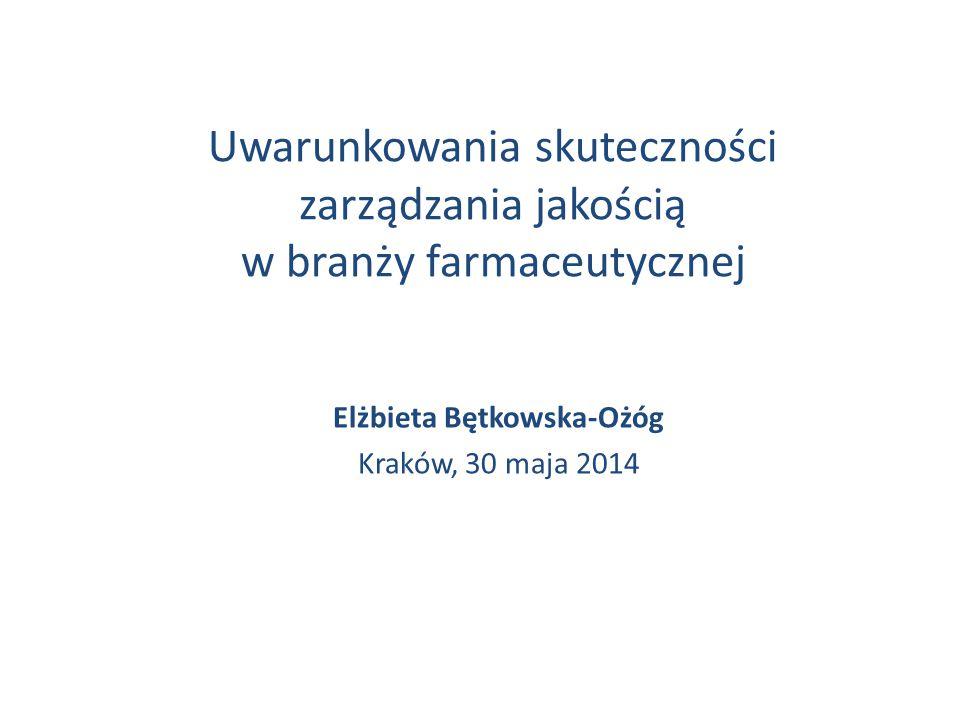 Uwarunkowania skuteczności zarządzania jakością w branży farmaceutycznej Elżbieta Bętkowska-Ożóg Kraków, 30 maja 2014