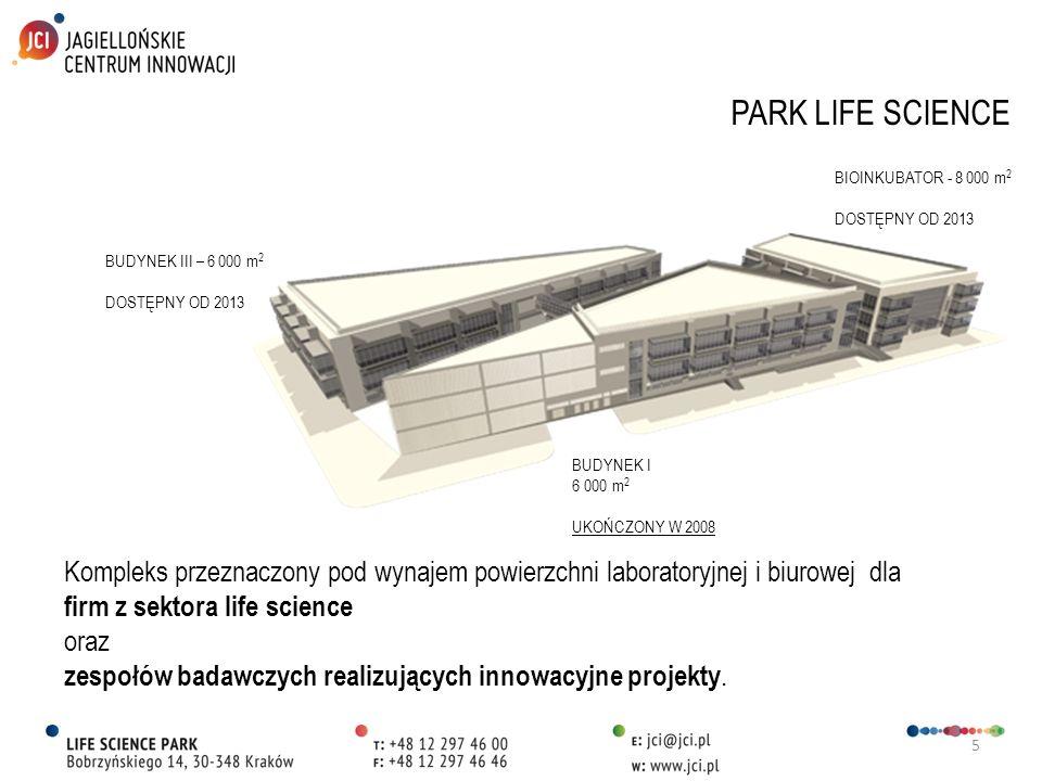 5 PARK LIFE SCIENCE BUDYNEK III – 6 000 m 2 DOSTĘPNY OD 2013 BUDYNEK I 6 000 m 2 UKOŃCZONY W 2008 BIOINKUBATOR - 8 000 m 2 DOSTĘPNY OD 2013 Kompleks p