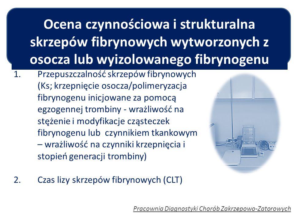 Pracownia Diagnostyki Chorób Zakrzepowo-Zatorowych 1.Przepuszczalność skrzepów fibrynowych (Ks; krzepnięcie osocza/polimeryzacja fibrynogenu inicjowan