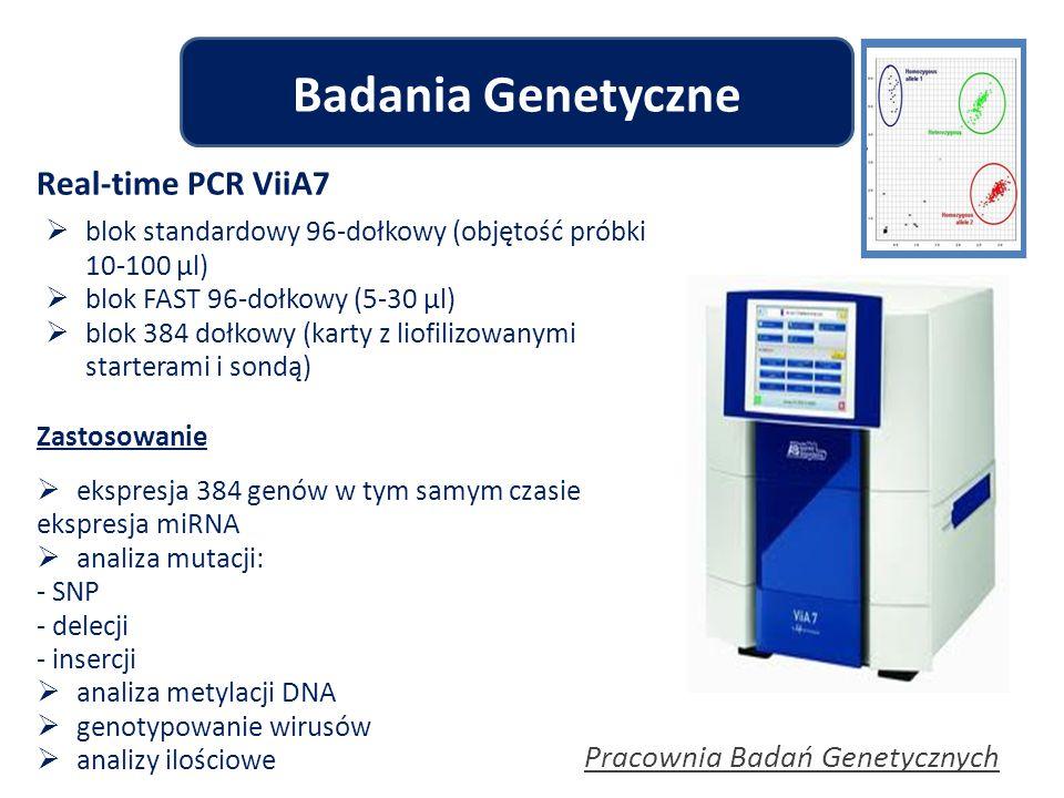 Pracownia Badań Genetycznych Badania Genetyczne Zastosowanie  ekspresja 384 genów w tym samym czasie ekspresja miRNA  analiza mutacji: - SNP - delec