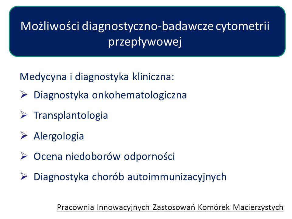 Medycyna i diagnostyka kliniczna:  Diagnostyka onkohematologiczna  Transplantologia  Alergologia  Ocena niedoborów odporności  Diagnostyka chorób
