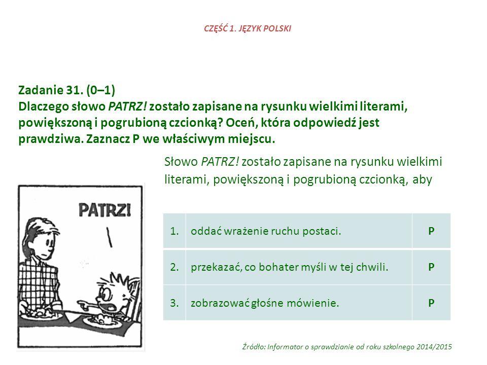 Zadanie 31. (0–1) Dlaczego słowo PATRZ! zostało zapisane na rysunku wielkimi literami, powiększoną i pogrubioną czcionką? Oceń, która odpowiedź jest p