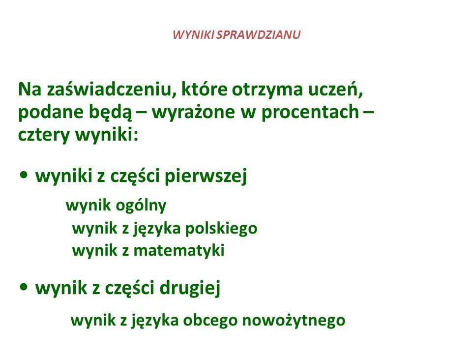 Na zaświadczeniu, które otrzyma uczeń, podane będą – wyrażone w procentach – cztery wyniki: wyniki z części pierwszej wynik ogólny wynik z języka pols