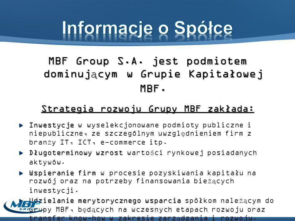 MBF Group S.A. jest podmiotem dominującym w Grupie Kapitałowej MBF.