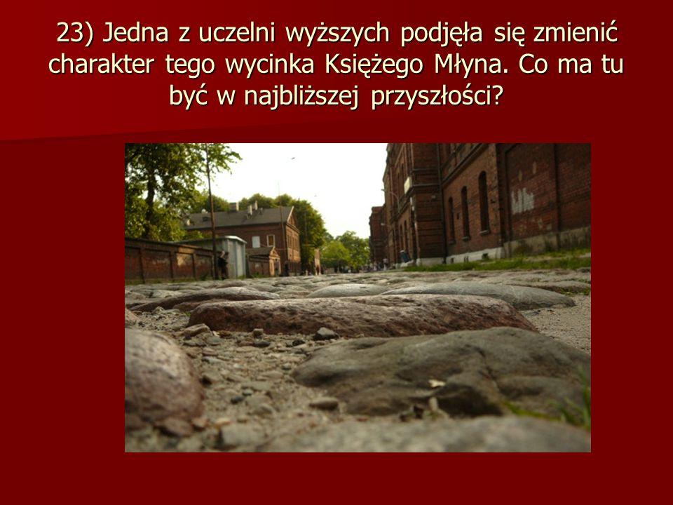 23) Jedna z uczelni wyższych podjęła się zmienić charakter tego wycinka Księżego Młyna.