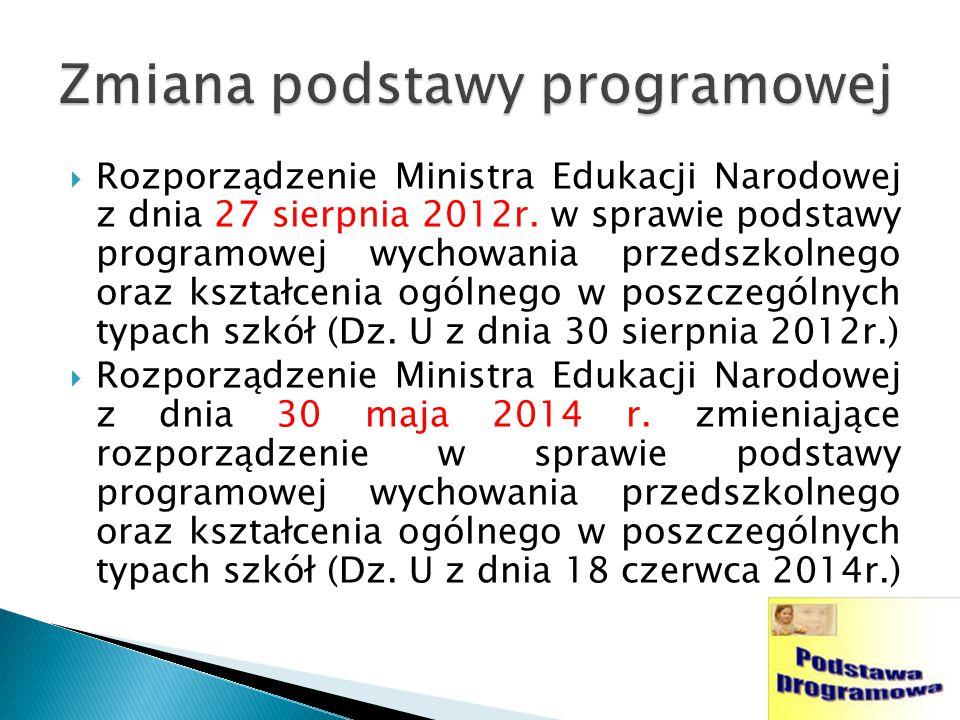  Rozporządzenie Ministra Edukacji Narodowej z dnia 27 sierpnia 2012r.