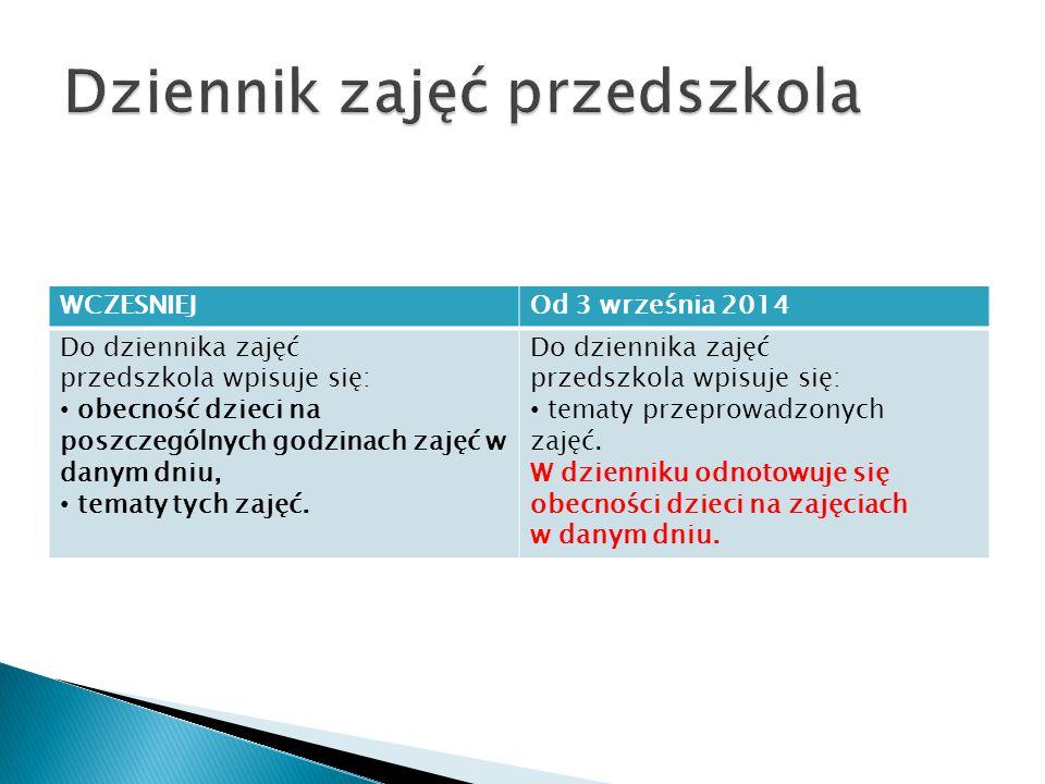 WCZESNIEJOd 3 września 2014 Do dziennika zajęć przedszkola wpisuje się: obecność dzieci na poszczególnych godzinach zajęć w danym dniu, tematy tych zajęć.