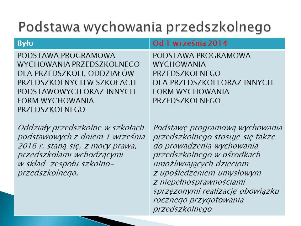Rozszerzono cele i dodano dwa obszary (było 15):  Przygotowanie dzieci do posługiwania się językiem obcym nowożytnym.