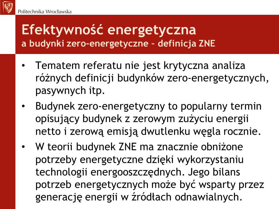 Efektywność energetyczna a budynki zero-energetyczne – definicja ZNE Tematem referatu nie jest krytyczna analiza różnych definicji budynków zero-energetycznych, pasywnych itp.