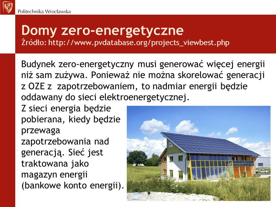 Domy zero-energetyczne Źródło: http://www.pvdatabase.org/projects_viewbest.php Budynek zero-energetyczny musi generować więcej energii niż sam zużywa.