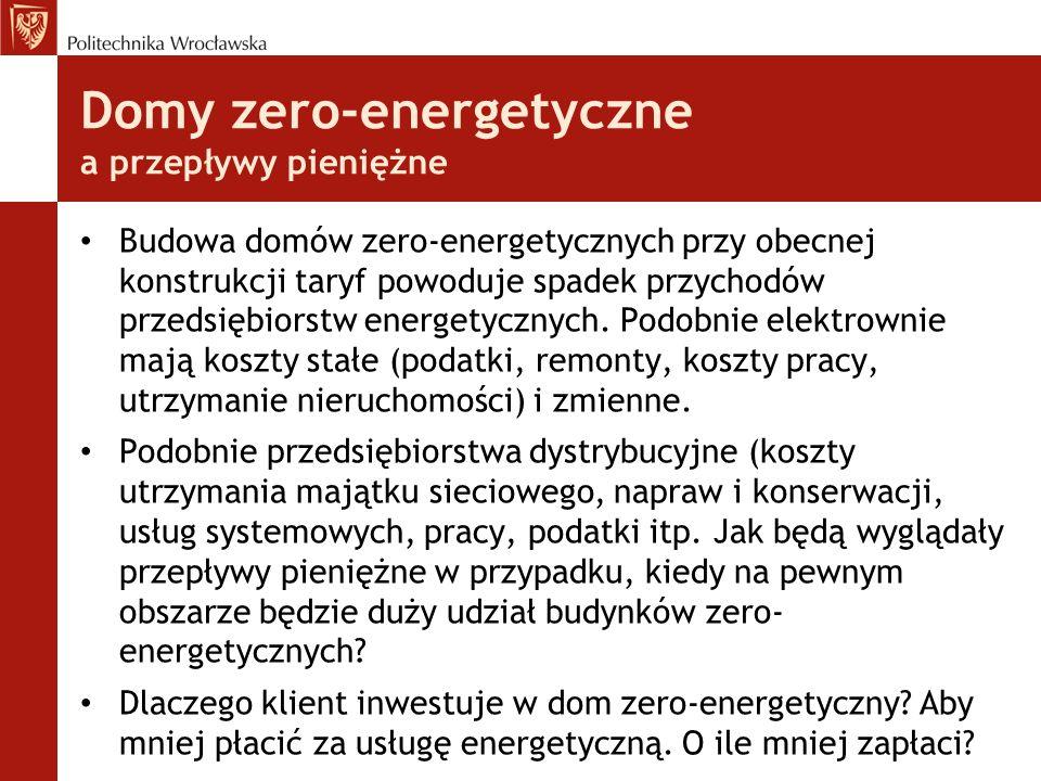 Domy zero-energetyczne a przepływy pieniężne Budowa domów zero-energetycznych przy obecnej konstrukcji taryf powoduje spadek przychodów przedsiębiorstw energetycznych.