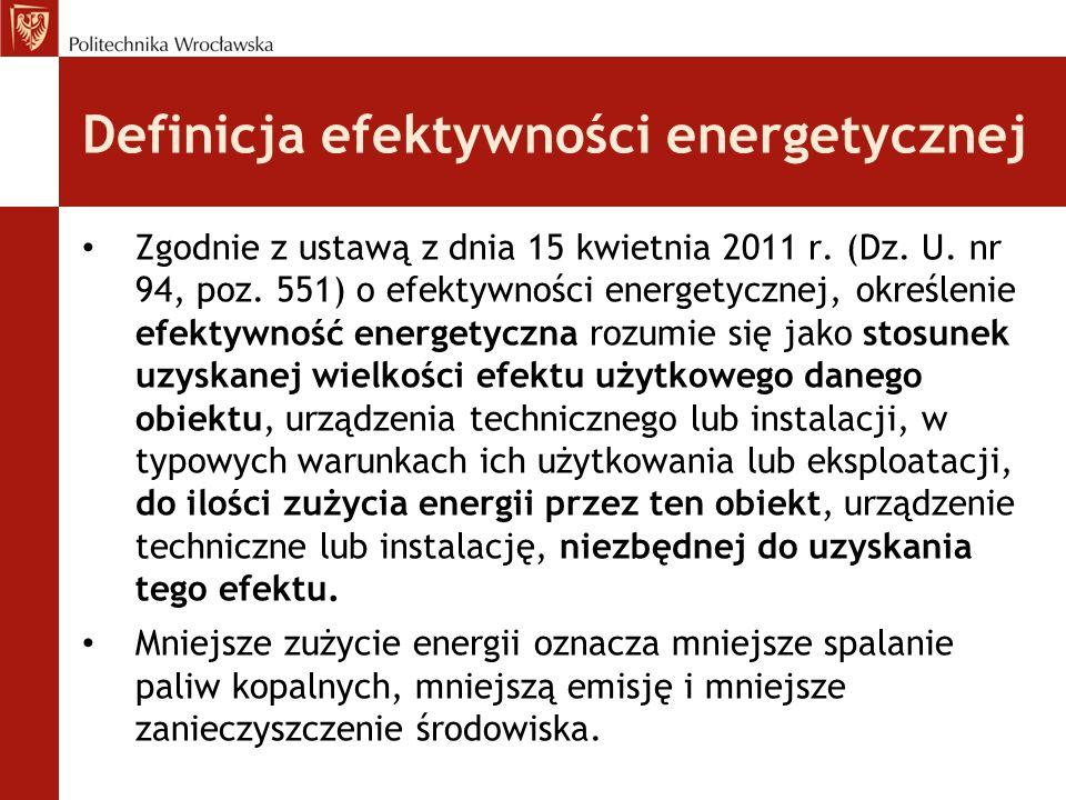 Definicja efektywności energetycznej Zgodnie z ustawą z dnia 15 kwietnia 2011 r.