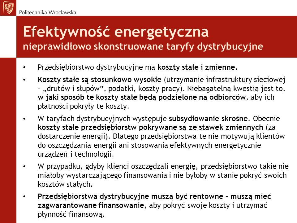Efektywność energetyczna nieprawidłowo skonstruowane taryfy dystrybucyjne Przedsiębiorstwo dystrybucyjne ma koszty stałe i zmienne.