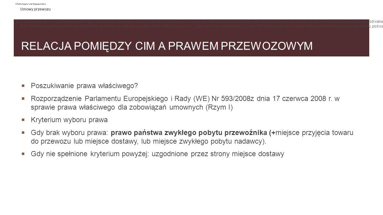 RELACJA POMIĘDZY CIM A PRAWEM PRZEWOZOWYM  Poszukiwanie prawa właściwego?  Rozporządzenie Parlamentu Europejskiego i Rady (WE) Nr 593/2008z dnia 17