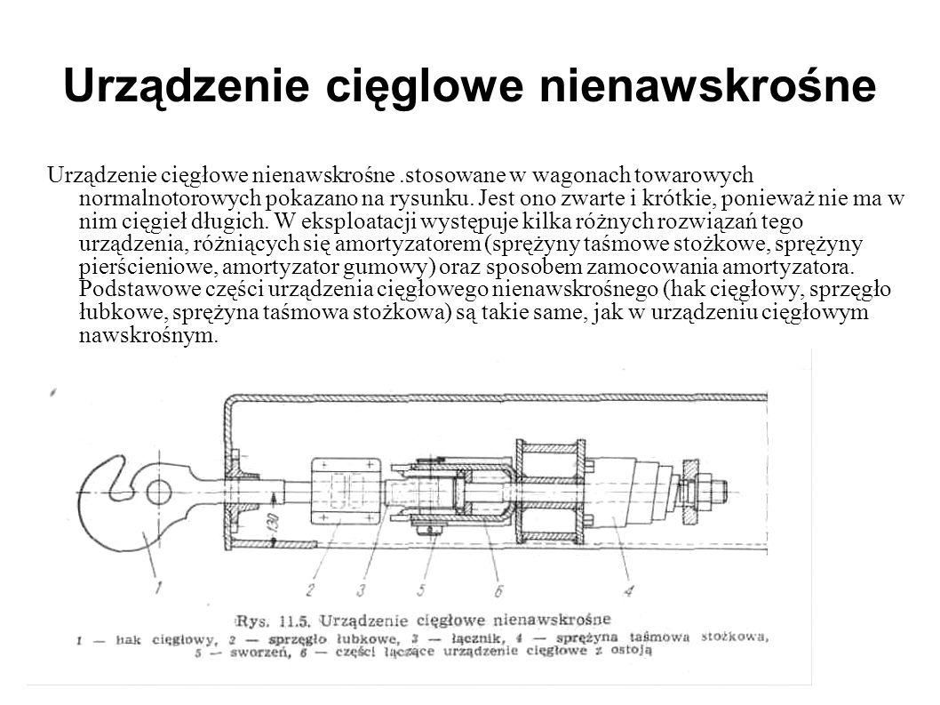 Urządzenie cięglowe nienawskrośne Urządzenie cięgłowe nienawskrośne.stosowane w wagonach towarowych normalnotorowych pokazano na rysunku. Jest ono zwa