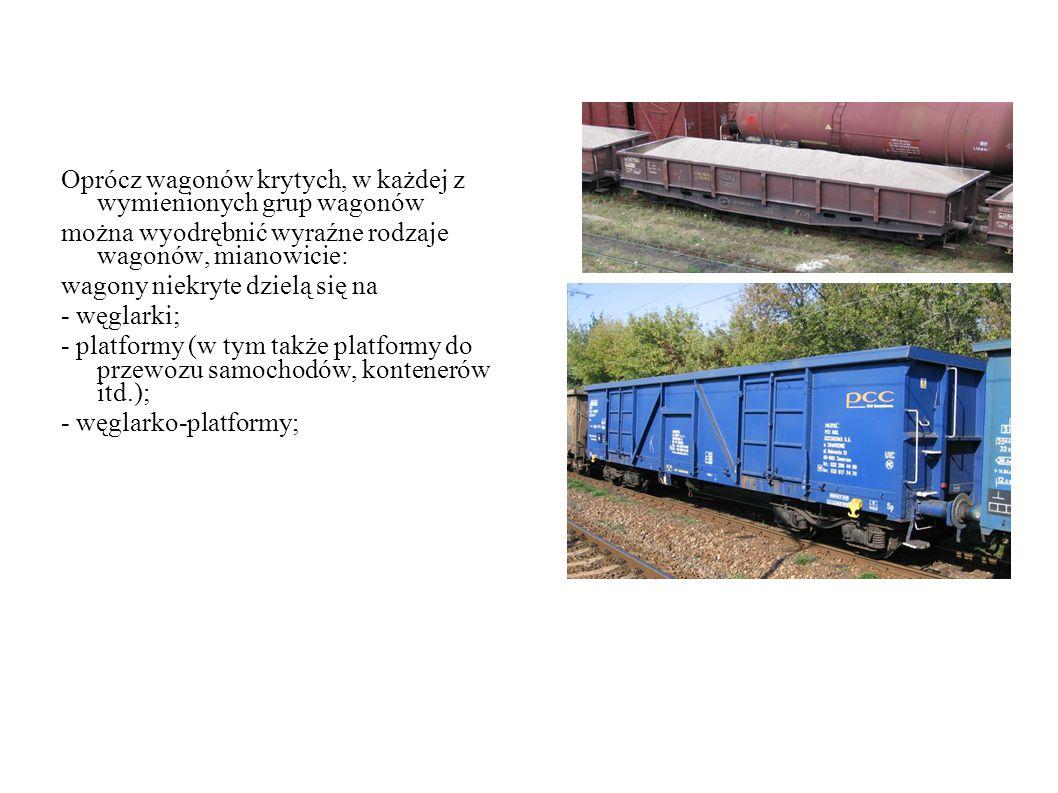 Oprócz wagonów krytych, w każdej z wymienionych grup wagonów można wyodrębnić wyraźne rodzaje wagonów, mianowicie: wagony niekryte dzielą się na - węglarki; - platformy (w tym także platformy do przewozu samochodów, kontenerów itd.); - węglarko-platformy;